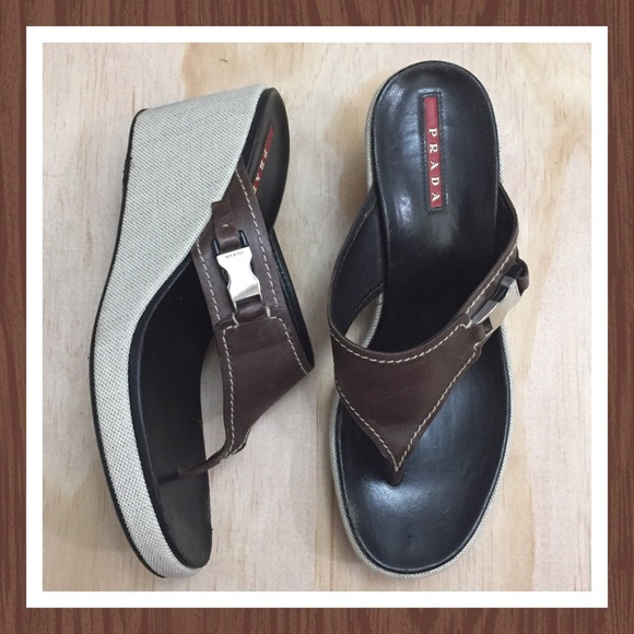 Prada Shoes - PRADA BROWN LEATHER THONG WEDGE SANDALS SIZE 38/8